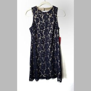Vince Camuto Blue Lace over Nude Lining Dress Sz 4